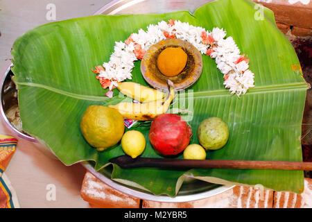Pooja Praying Tray. Hindu Tamil Traditional Wedding Rituals - Stock Photo