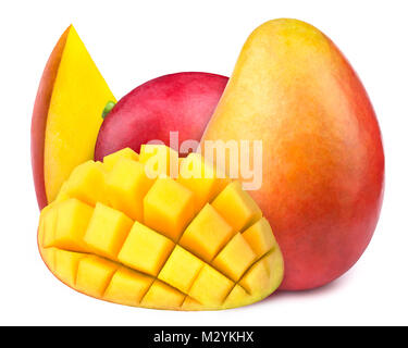 Mango with slices to cubes isolated - Stock Photo