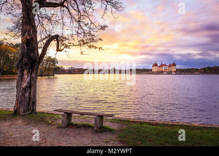 Sunset during autumn at the Moritzburg near Dresden - Stock Photo