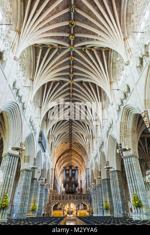 England, Devon, Exeter, Exeter Cathedral, Interior View - Stock Photo