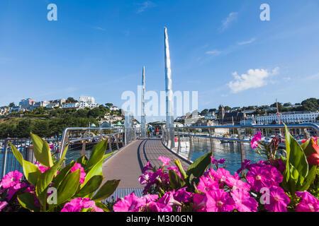 England, Devon, Torquay, Torquay Harbour Bridge and Town Skyline - Stock Photo