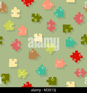 vector abstract seamless puzzle pattern - Stock Photo
