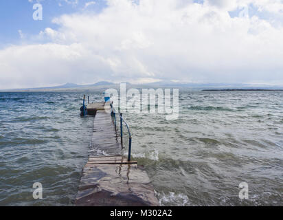 Lake Sevan in Armenia at an altitude of altitude of 1,900 m, the largest fresh water reserve in the area, ripples - Stock Photo