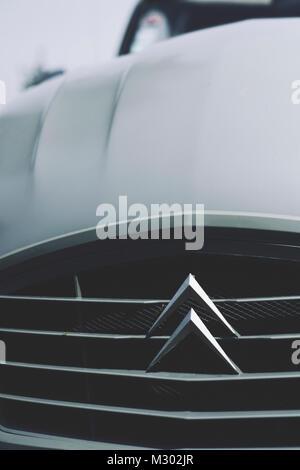 A detail of a Citroen 2CV - a classic French car - Stock Photo