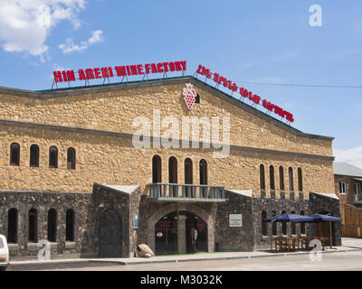 Wine production in Areni in southern Armenia at the Areni Wine Factory, building facade of headquarters and visitors - Stock Photo