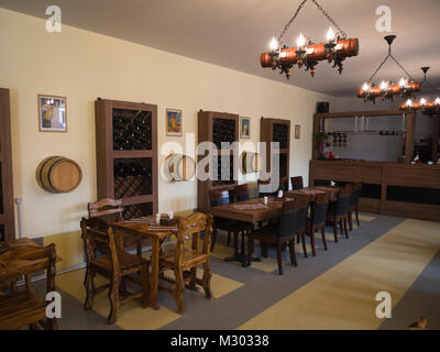 Wine production tasting room in Areni in southern Armenia at the Areni Wine Factory - Stock Photo