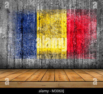Chad flag painted on background texture gray concrete with wooden floor - Stock Photo