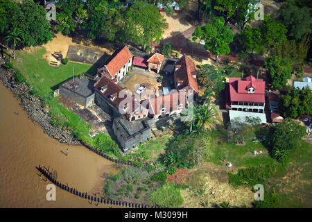 Suriname, Paramaribo, Aerial view old fort called Zeelandia. - Stock Photo