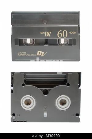 The two sides of mini DV cassette closeup - Stock Photo
