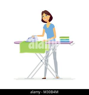 Young woman ironing clothes - cartoon people characters isolated illustration - Stock Photo