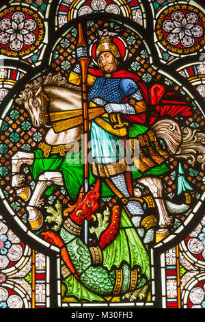 Germany, Rhineland-Palatinate, Bopppard, Church of St Severus, Stained Glass Window depicting St.George Slaying - Stock Photo