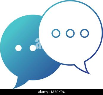 blue line chat bubbles text notes messages - Stock Photo
