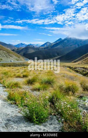 Beautiful scenery around the Lindis pass, South island, New Zealand - Stock Photo