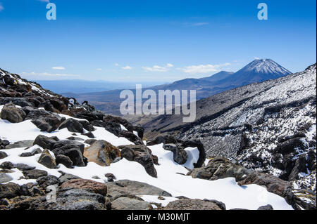 View from Mount Ruapehu on Mount Ngauruhoe. Unesco world heritage sight Tongariro National Park, North Island, New - Stock Photo