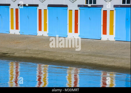 Colourful boat garages in the harbour of Wellington, North Island, New Zealand - Stock Photo