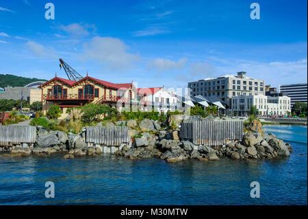 waterfront around Lambton harbour, Wellington, North Island, New Zealand - Stock Photo