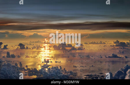 Aerial viev, clouds over pacific ocean, South China Sea, Asia - Stock Photo