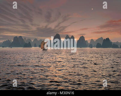 Junk in the Halong Bay, Vietnam, Indochina, Asia - Stock Photo