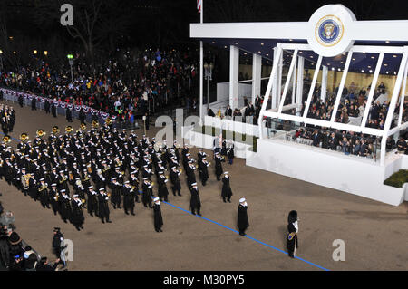 The U.S. Navy Band salutes President Barack Obama as it passes the presidential review stand during the 57th Presidential - Stock Photo