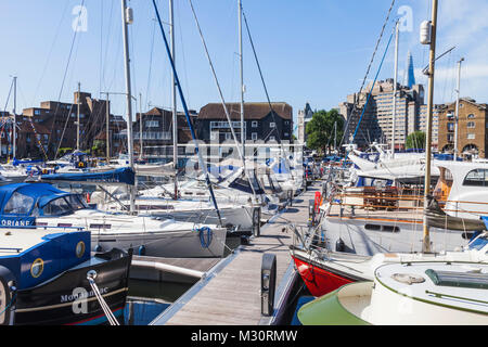 England, London, Wapping, St.Katharine Docks, Yacht Marina - Stock Photo