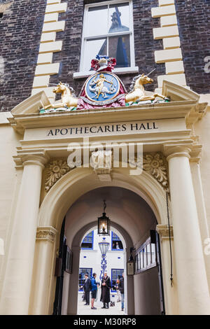 England, London, The City, Black Friars Lane, Entrance to the Apothecaries' Hall - Stock Photo