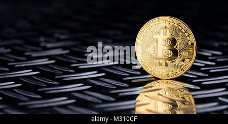 golden bitcoin crypto currency symbol coin on silver diamond steel plate wide financial panorama black background - Stock Photo