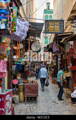 shops in the narrow alleys in old town (medina) of Fez, Morocco, Africa - Stock Photo