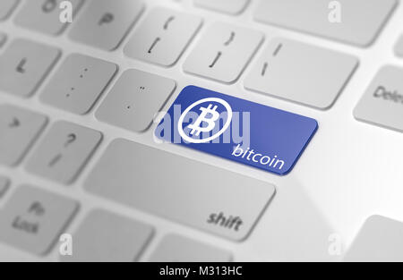 Blue BITCOIN button on keyboard. Soft focus. 3d Rendering - Stock Photo