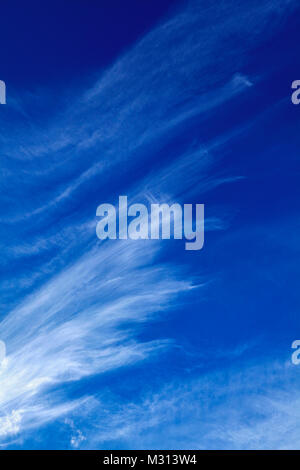 Whispy, Cirrus uncinus, Mares' Tails, clouds are made of ice crystals and are typically found above 6,000 meters - Stock Photo