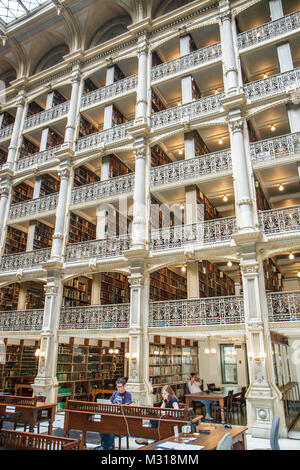 Baltimore Maryland Mount Mt. Vernon Historic District The Johns Hopkins University Peabody Institute Library 1852 - Stock Photo