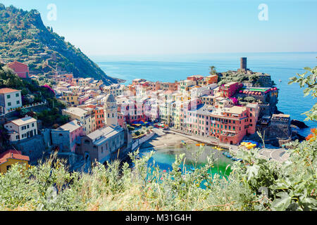 Amazing view of Vernazza from above. One of five famous colorful villages of Cinque Terre National Park in Italy - Stock Photo