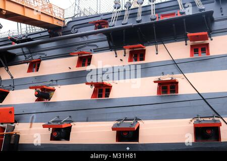 HMS Victory, Portsmouth Historical Dockyard, UK - Stock Photo