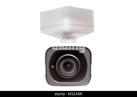 White surveillance  camera  .CCTV isolated on white. Front face lens view.  Close up. Under the dome concept. - Stock Photo