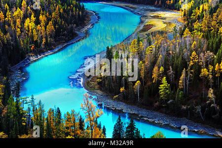 Xinjiang Kanas Moon Bay - Stock Photo