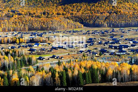 Xinjiang Kanas Hemu village scenery - Stock Photo