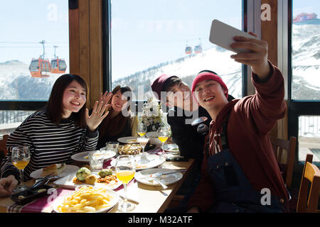 Young men and women in the restaurant for dinner - Stock Photo