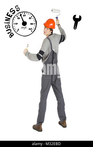Business concept of self-made man. Young laborer man in orange helmet over white background with sketches. - Stock Photo