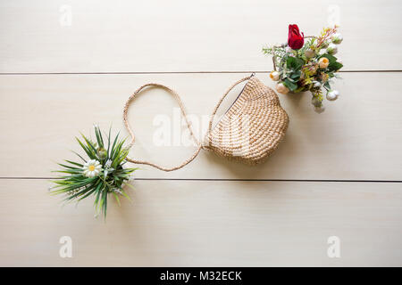 Hand made bag with flower vases with copy space for conceptual designs. - Stock Photo