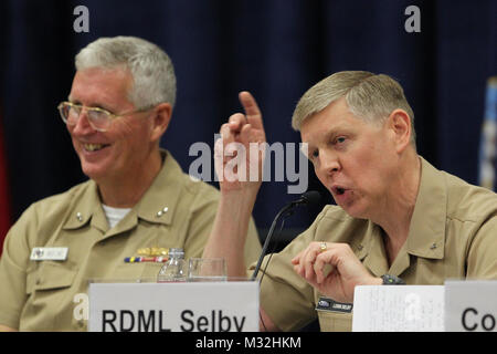 160218-N-HW977-084 SAN DIEGO, Calif. (Feb. 18, 2015) Rear Admiral Lorin Selby, Naval Surface Warfare Center commander, right, and Rear Adm. David Lewis, Space and Naval Warfare Systems Command (SPAWAR) commander, participate in a panel discussion, 'How Do We Deliver the Capabilities to the Warfighters When They Need Them?' during WEST 2016, a three-day conference co-sponsored by Armed Forces Communications and Electronics Association (AFCEA) and U.S. Naval Institute (USNI). Selby described the value of the human connection between engineers and warfighters and the need to be more agile and nim