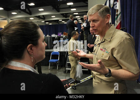 160218-N-HW977-269 SAN DIEGO, Calif. (Feb. 18, 2015) Rear Admiral Lorin Selby, Naval Surface Warfare Center (NSWC) commander, right, speaks with attendees following a panel discussion, 'How Do We Deliver the Capabilities to the Warfighters When They Need Them?' during WEST 2016, a three-day conference co-sponsored by Armed Forces Communications and Electronics Association (AFCEA) and U.S. Naval Institute (USNI). Selby described the value of the human connection between engineers and warfighters and the need to be more agile and nimble in combining technologies. 'We're playing a twenty-first ce