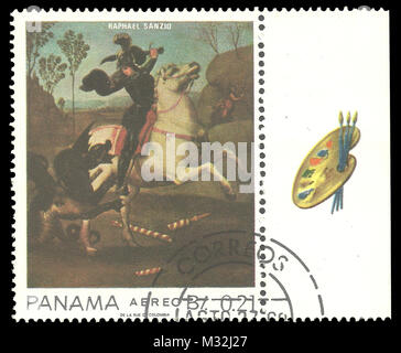 Panama - stamp 1967: Color edition on Art, shows Painting of St. George and the Dragon by Raphael - Stock Photo