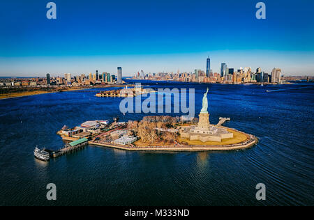 New York Statue of Liberty aerial - Stock Photo