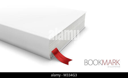 Bookmark in a book isolated on white, 3d Illustration. - Stock Photo