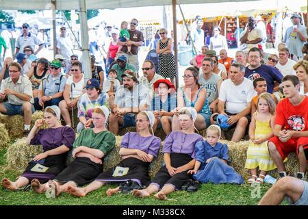 Pennsylvania Kutztown Kutztown Folk Festival Pennsylvania Dutch folklife heritage tradition performance tent man - Stock Photo