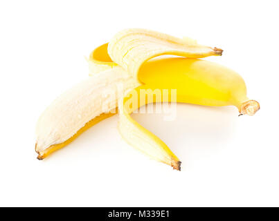 Single fresh, yellow, ripe banana half peeled over white background - Stock Photo