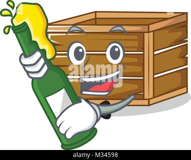 With beer crate mascot cartoon style - Stock Photo