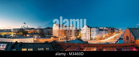 Helsinki, Finland. Panoramic View Of Helsinki Cathedral, Pohjoisranta Street And Redone Old Building For Banquet - Stock Photo