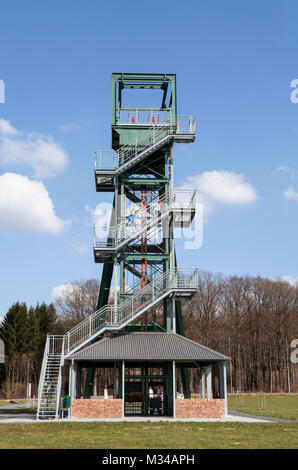 The Barbaraturm tower, historical shaft tower, Steinberger Höhe, Malberg, Rhineland-Palatinate, Germany - Stock Photo