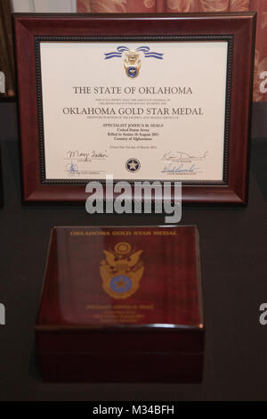 Oklahoma Gold Star Medal presentation box and certificate