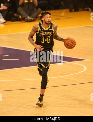 Los Angeles, CA, USA. 8th Feb, 2018. Los Angeles Lakers forward Brandon Ingram (14) during the Oklahoma City Thunder - Stock Photo